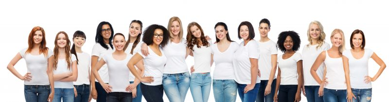group of happy young women